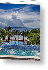 Holiday Resort With Jacuzzi And Pool Greeting Card