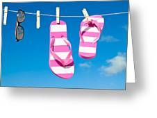 Holiday Washing Line Greeting Card by Amanda Elwell
