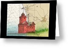 Holland Harbor Lighthouse Mi Nautical Chart Map Art Greeting Card