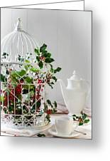 Holly And Berries Birdcage Greeting Card