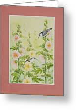 Hollyhocks And Nuthatches Greeting Card