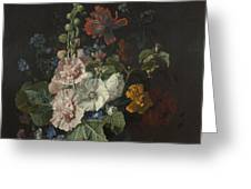 Hollyhocks And Other Flowers In A Vase Greeting Card