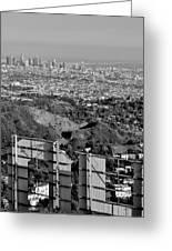 Hollywood And Los Angeles City Skyline Greeting Card