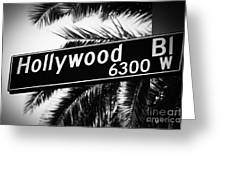 Hollywood Boulevard Street Sign In Black And White Greeting Card