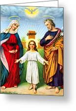 Holy Family With Cross Greeting Card