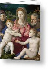 Holy Family With St. Anne And The Infant St. John Greeting Card