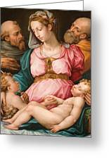 Holy Family With The Infant Saint John The Baptist And Saint Francis Greeting Card by Giorgio Vasari