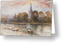 Holy Trinity Church On The Banks If The River Avon Stratford Upon Avon Greeting Card