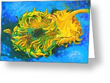 Homage To Dear Master Van Gogh Two Cut Sunflowers Greeting Card