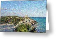 Homage To Vincent Had He Only Seen Cozumel II Greeting Card by Judy Paleologos