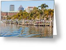 Home And Water And City Greeting Card