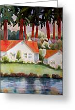 Home By The Lake Greeting Card by Blenda Studio