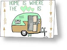 Home Is Where The Heart Is Campling Trailer Vintage Greeting Card