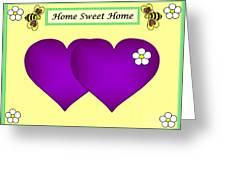 Home Sweet Home Purple Hearts 1 Greeting Card