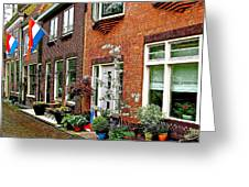 Homes Along The Canal In Enkhuizen-netherlands Greeting Card
