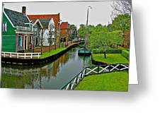 Homes Near The Dike In Enkhuizen-netherlands Greeting Card