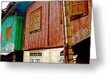 Homes On Stilts In Tachilek-burma Greeting Card