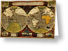 Hondius Map Of The World 1595 Greeting Card