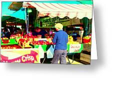 Honeycrisp Apples Fruit Stand Marcel Les Pommes St Joseph Du Lac  Food Art Scenes Carole Spandau Greeting Card