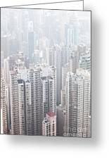 Hong Kong City In The Mist Greeting Card
