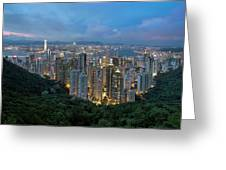 Hong Kong From Sky Terrace 428 At Victoria Peak Greeting Card
