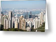 Hong Kong Harbor From Victoria Peak In A Sunny Day Greeting Card by Matteo Colombo
