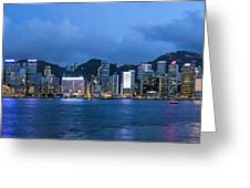 Hong Kong Island Central City Skyline At Blue Hour Greeting Card