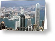 Hong Kong Skyline Greeting Card by Lars Ruecker