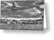 Hong Kong Skylines In Bw Greeting Card