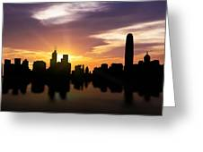 Hong Kong Sunset Skyline  Greeting Card