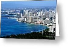 Honolulu And Waikiki From Diamond Head Greeting Card
