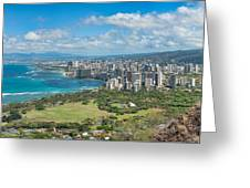 Honolulu From Diamond Head Crater Greeting Card