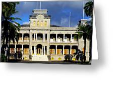 Honolulu Old Palace Close View Greeting Card