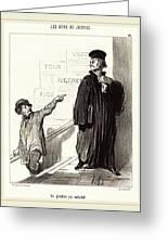 Honoré Daumier French, 1808-1879, Un Plaideur Peu Satisfait Greeting Card