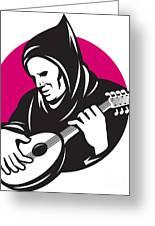 Hooded Man Playing Banjo Guitar Greeting Card
