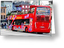 Hop On And Hop Off Bus In Bergen Greeting Card