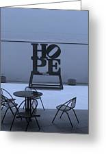 Hope And Chairs In Cyan Greeting Card