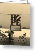 Hope And Chairs In Sepia Greeting Card