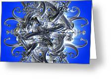Horned Circle Blue Greeting Card
