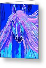 Horse Abstract Blue And Purple Greeting Card