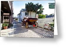 Horse And Buggy Ride St Augustine Greeting Card