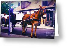 Horse And Carriage In Front Of Lafitte's Blacksmith Shop  Greeting Card