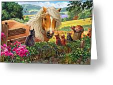 Horse And Cats Greeting Card