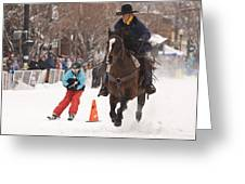 Horse And Skier Slalom Race Greeting Card