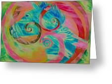 Horse And Spirals In Pink Greeting Card