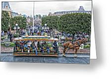 Horse And Trolley Main Street Disneyland 01 Greeting Card