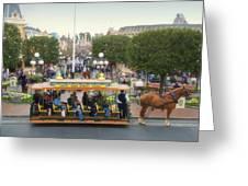 Horse And Trolley Main Street Disneyland 02 Greeting Card