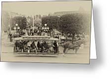 Horse And Trolley Main Street Disneyland Heirloom Greeting Card