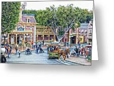 Horse And Trolley Turning Main Street Disneyland 01 Greeting Card