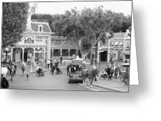 Horse And Trolley Turning Main Street Disneyland Bw Greeting Card